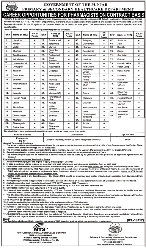 Healthcare Department Jobs NTS Test Roll Number Slip September 2017 Candidates List