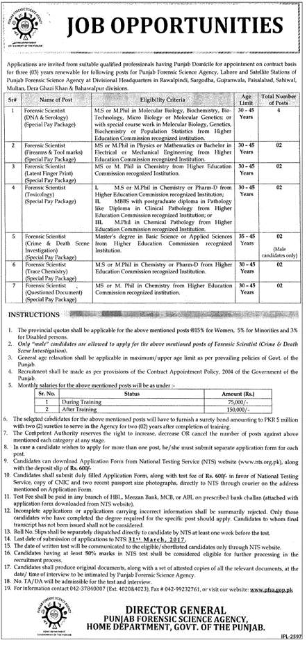 Punjab Forensic Science Agency Nts Jobs 2018 Application Form