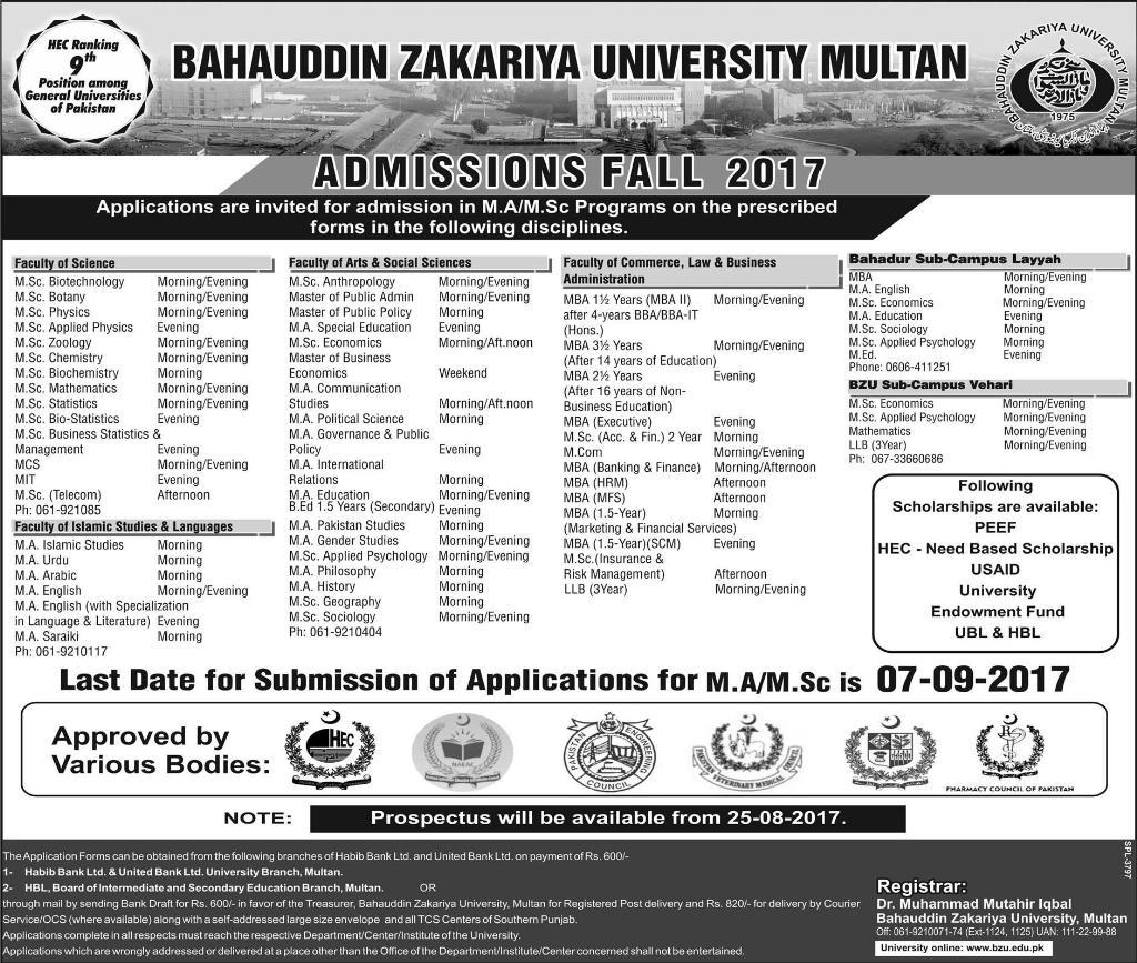 BZU Multan MA MSc MBA Admission Fall 2017 Application Form
