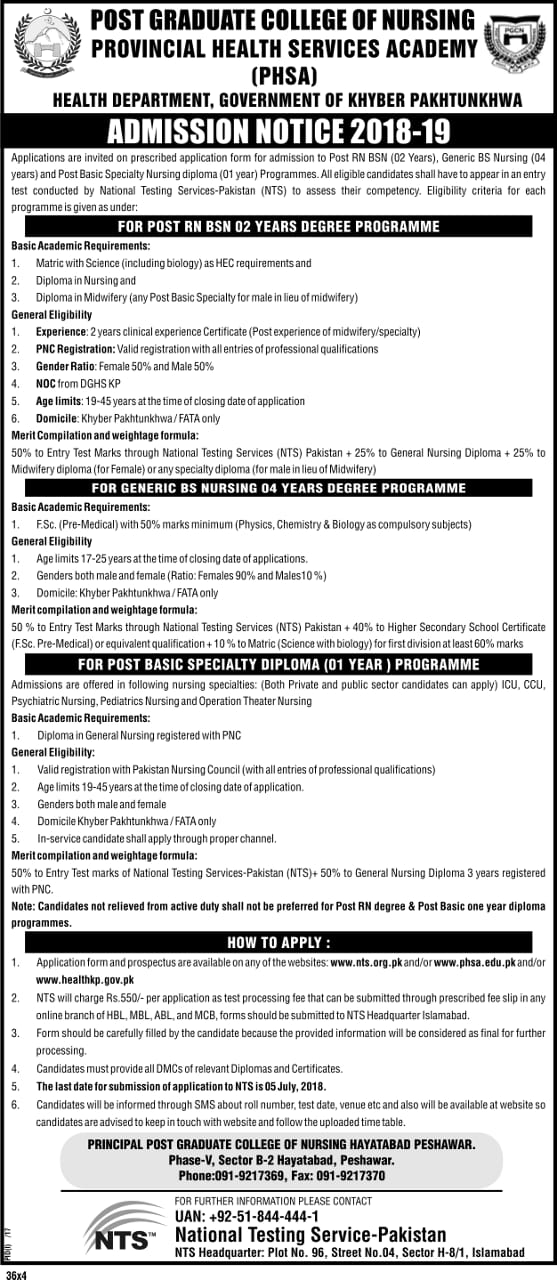 Postgraduate College of Nursing Provincial Health Services Academy NTS Admission Forms 2018 How to Apply