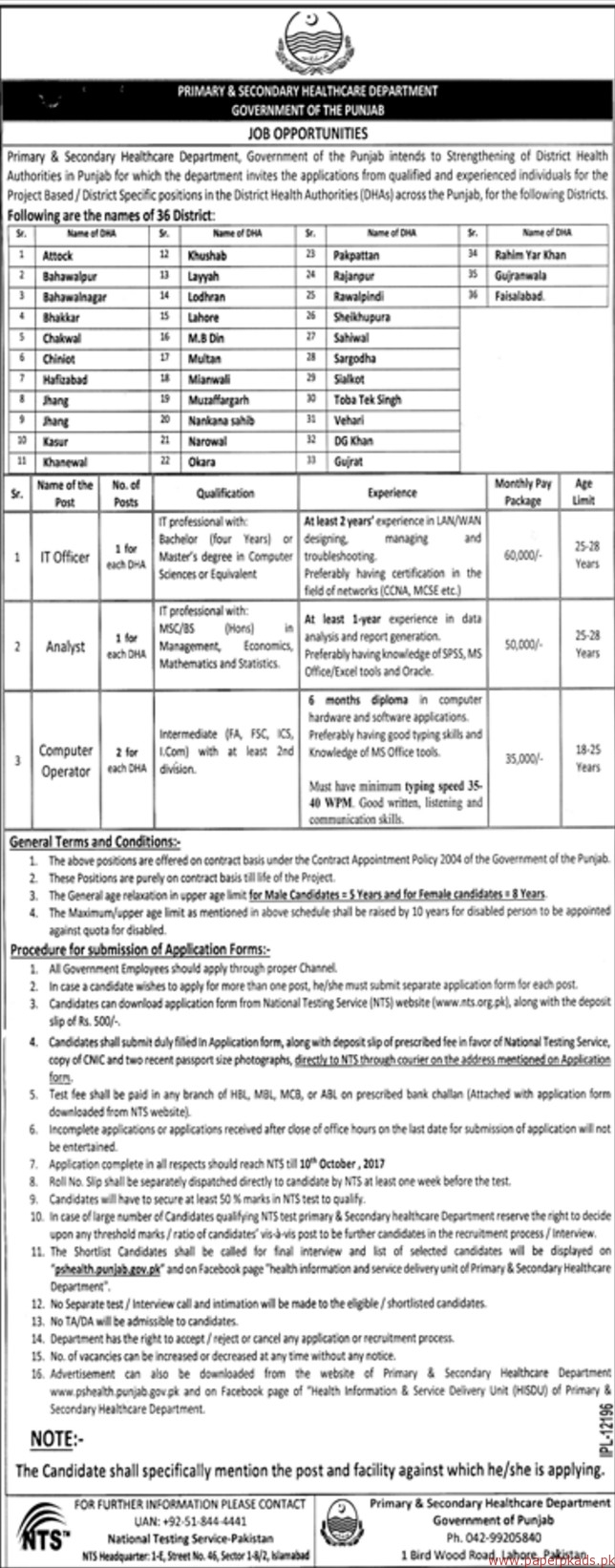 P&S Healthcare Department Punjab Jobs 2017 NTS Application Form for IT Officer, Analyst & Computer Operator