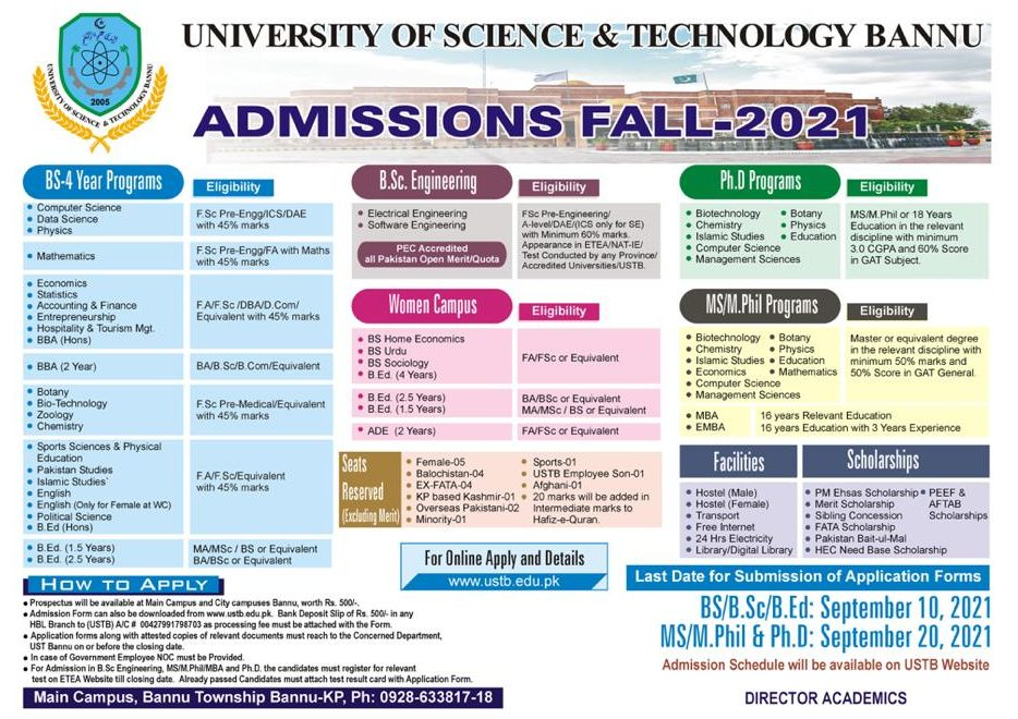 University of Science & Technology UST Bannu Entry Test Results 2021