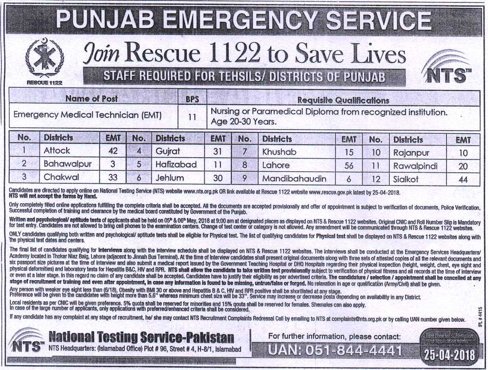 Punjab Emergency Service Rescue  Nts Jobs  Application Forms