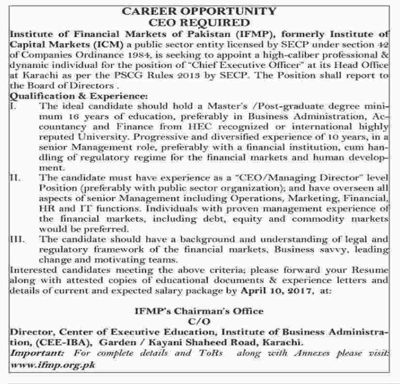 Institute of Financial Markets of Pakistan Jobs NTS Test Results