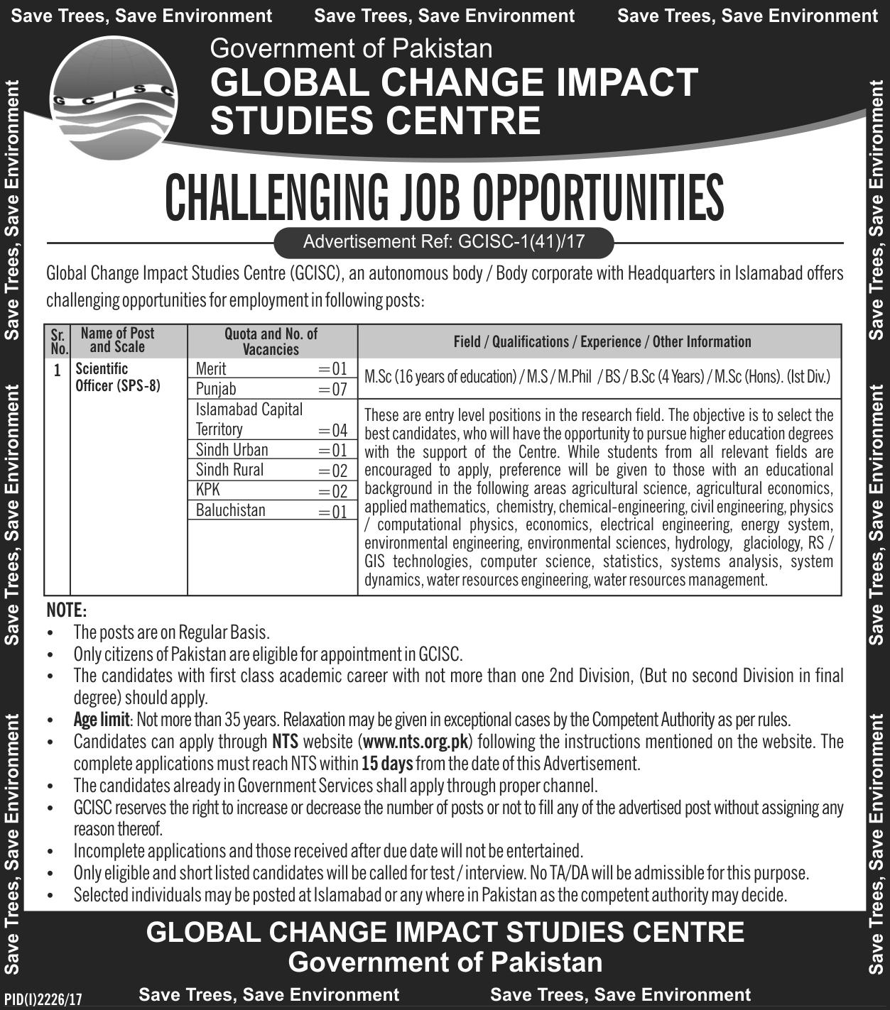 Scientific Officer NTS Jobs Global Change Impact Studies Centre ...