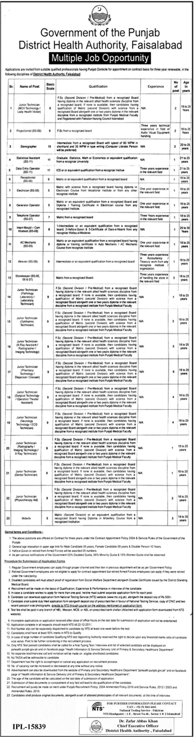 District Health Authority Faisalabad NTS Jobs Roll Number Slips 2018