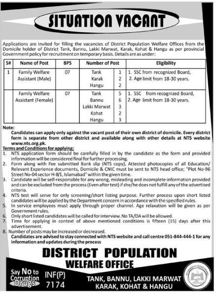 KPK District Population Welfare Offices NTS Jobs Roll Number Slips 2018 Tank, Karak, Hangu, Bannu, Lakki Marwat & Kohat
