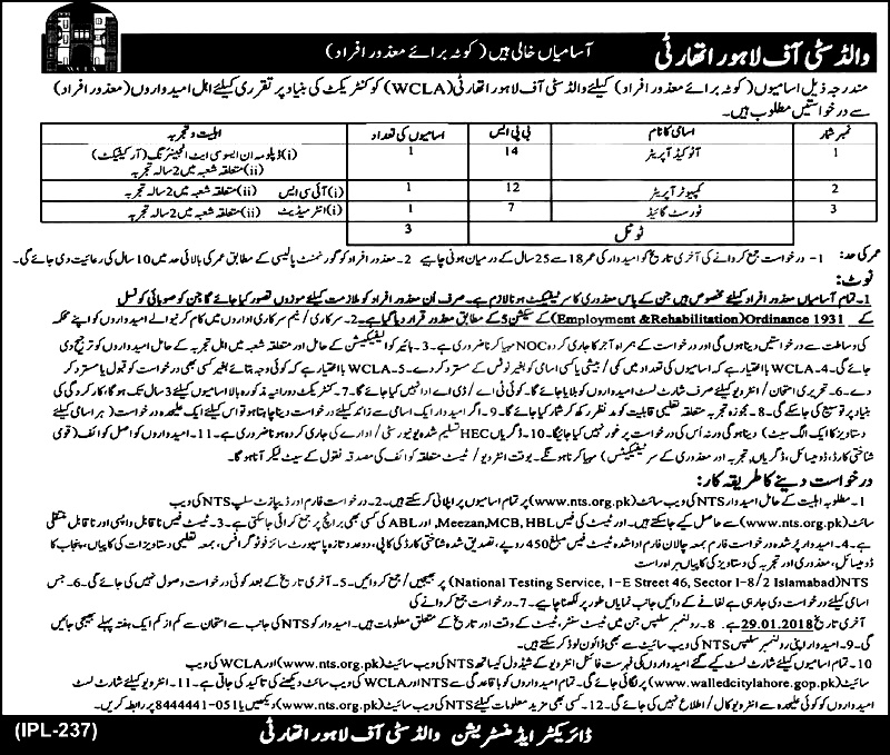Walled City of Lahore Authority Disable Persons NTS Jobs Application Forms 2018