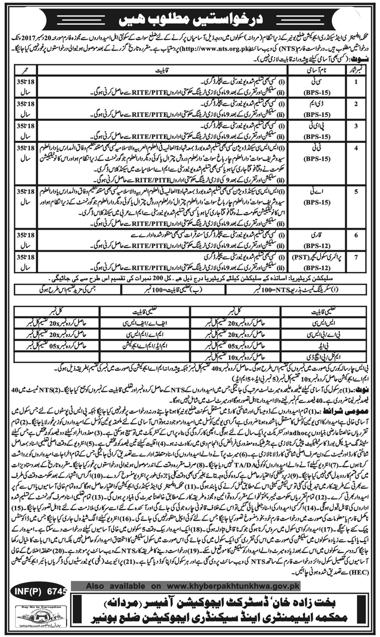 District BUNER Education Department NTS Jobs Answer Keys February 2018