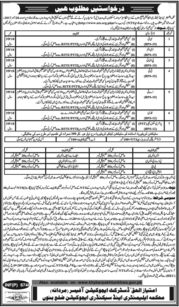 District Bannu Education Department NTS Jobs Answer keys February 2018