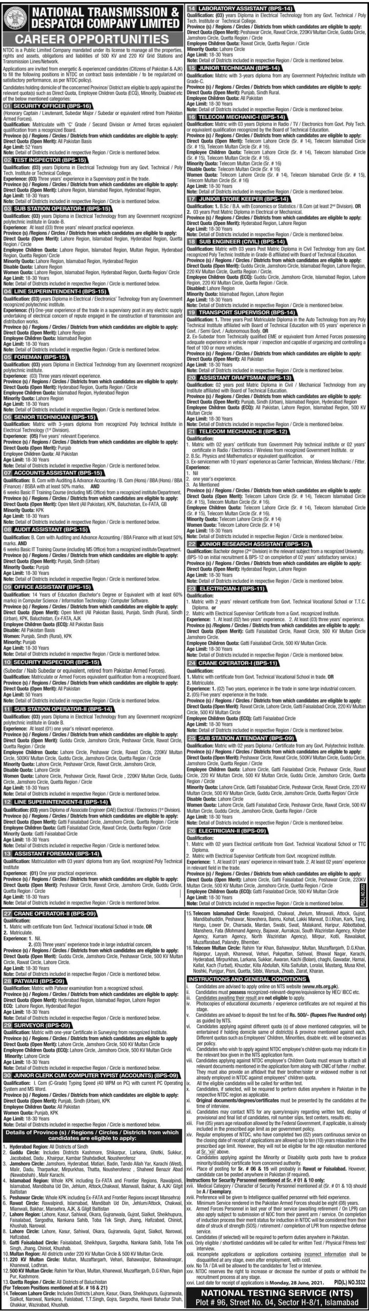 National Transmission & Despatch Company NTDC Jobs NTS Online Apply 2021 NTDC NTS Jobs Online Application forms Download