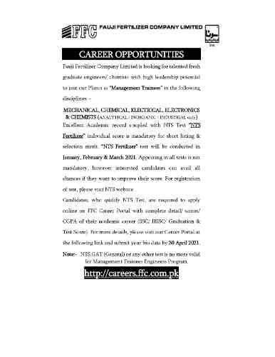 Fauji Fertilizer Company Limited FFCL Management Trainees NTS March Test Results 2021