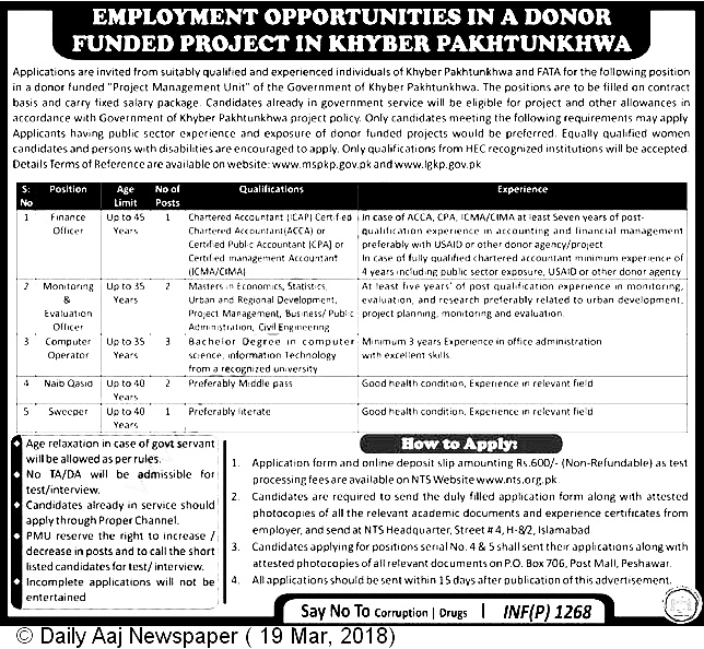 Khyber Pakhtunkhwa KPK Donor Funded Project Jobs NTS Results 21st April 2018