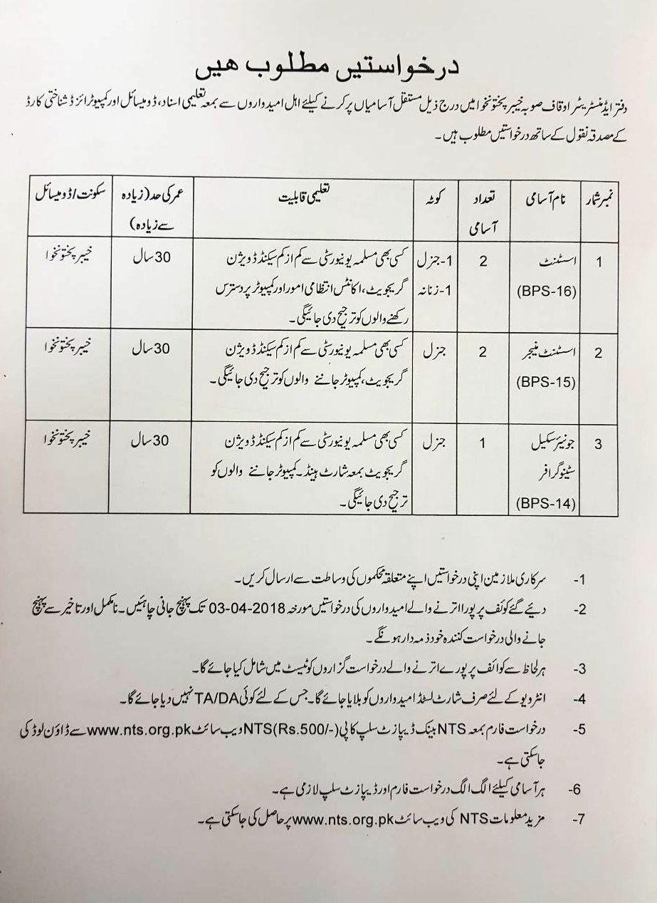 KPK Auqaaf Department Jobs NTS Results 2018