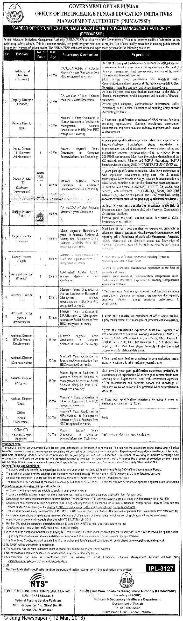 Punjab Education Initiatives Management Authority PEIMA NTS Jobs Roll Number Slips 2018
