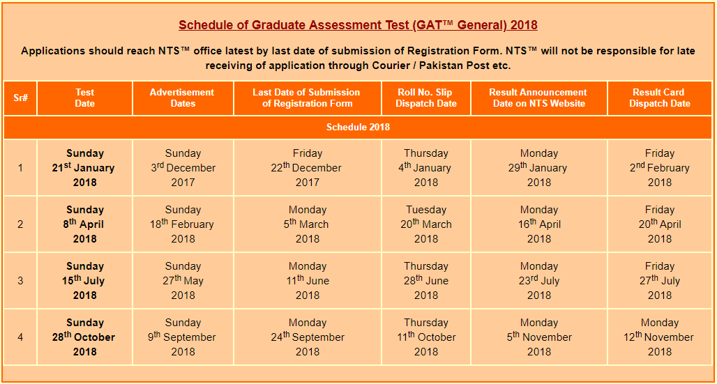 GAT General Test Schedule