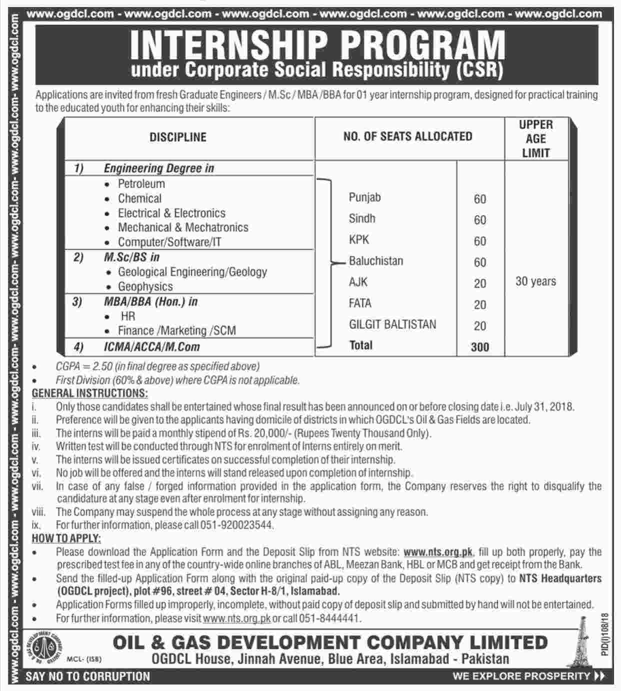 Oil & Gas Development Company Limited OGDCL Internship Program NTS Application Forms
