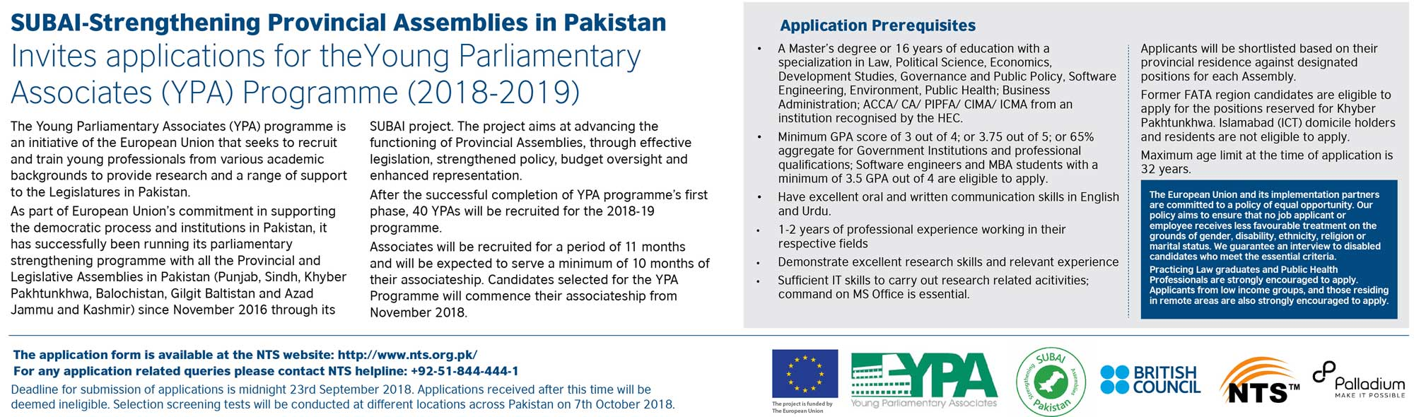 Young Parliamentary Associates YPA Programme NTS Test Results 2018-19