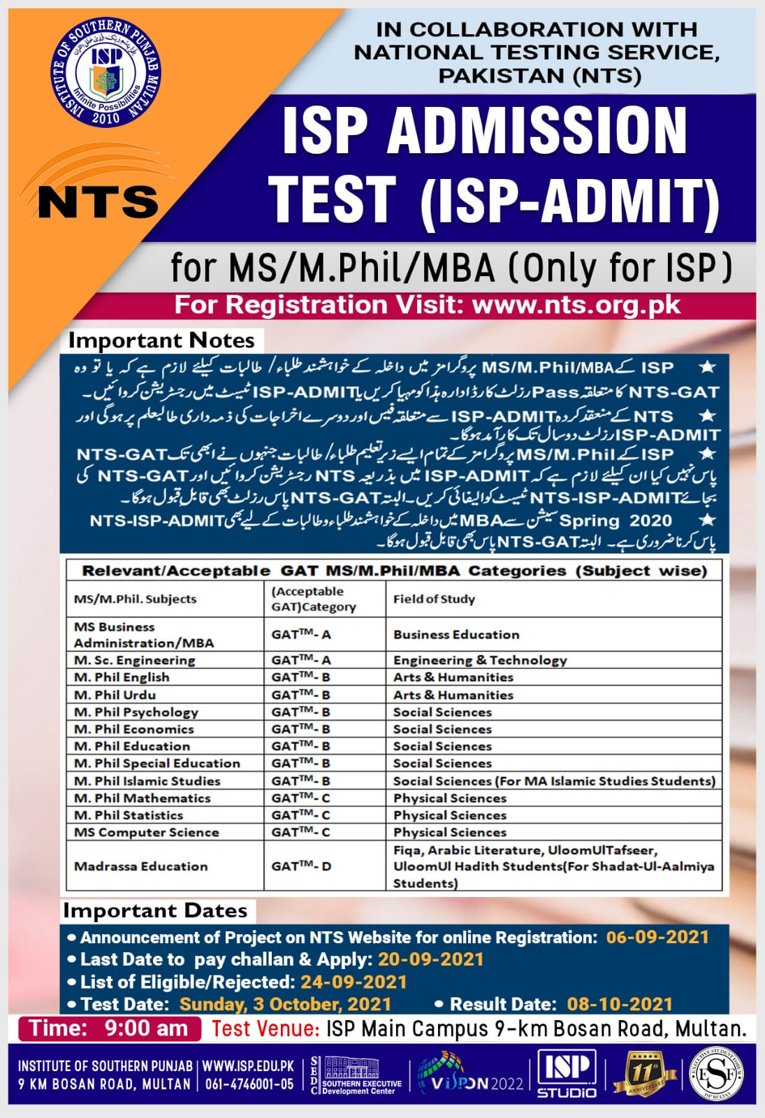 Institute of Southern Punjab NTS Admissions Online Apply 2021
