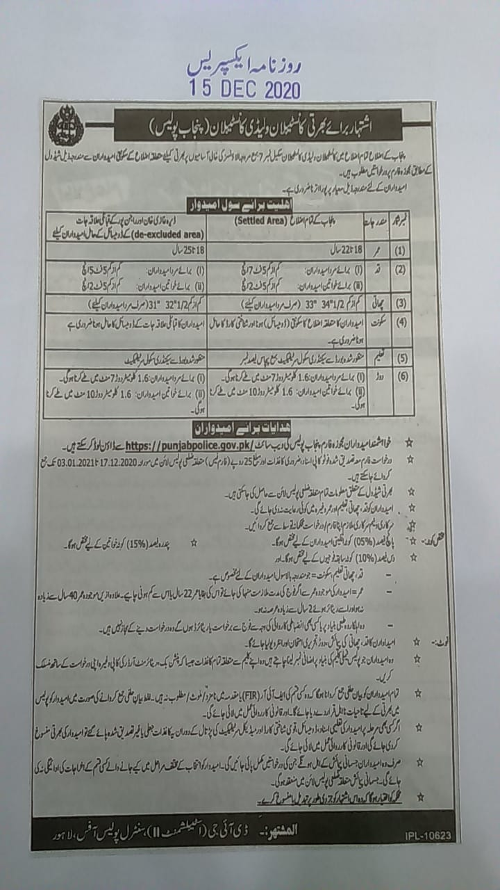 Punjab Police Jobs NTS Merit List 2021 Selected Candidates List Interview Dates