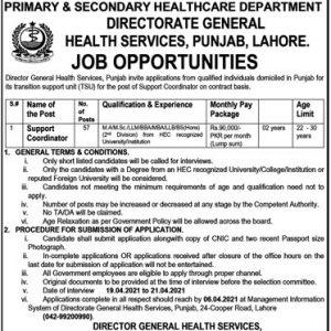 Punjab Health Department Support Coordinator Jobs Application Forms 2021