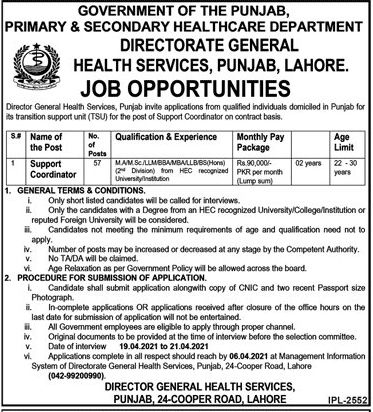 Punjab Health Department Support Coordinator Jobs Application Forms 2021
