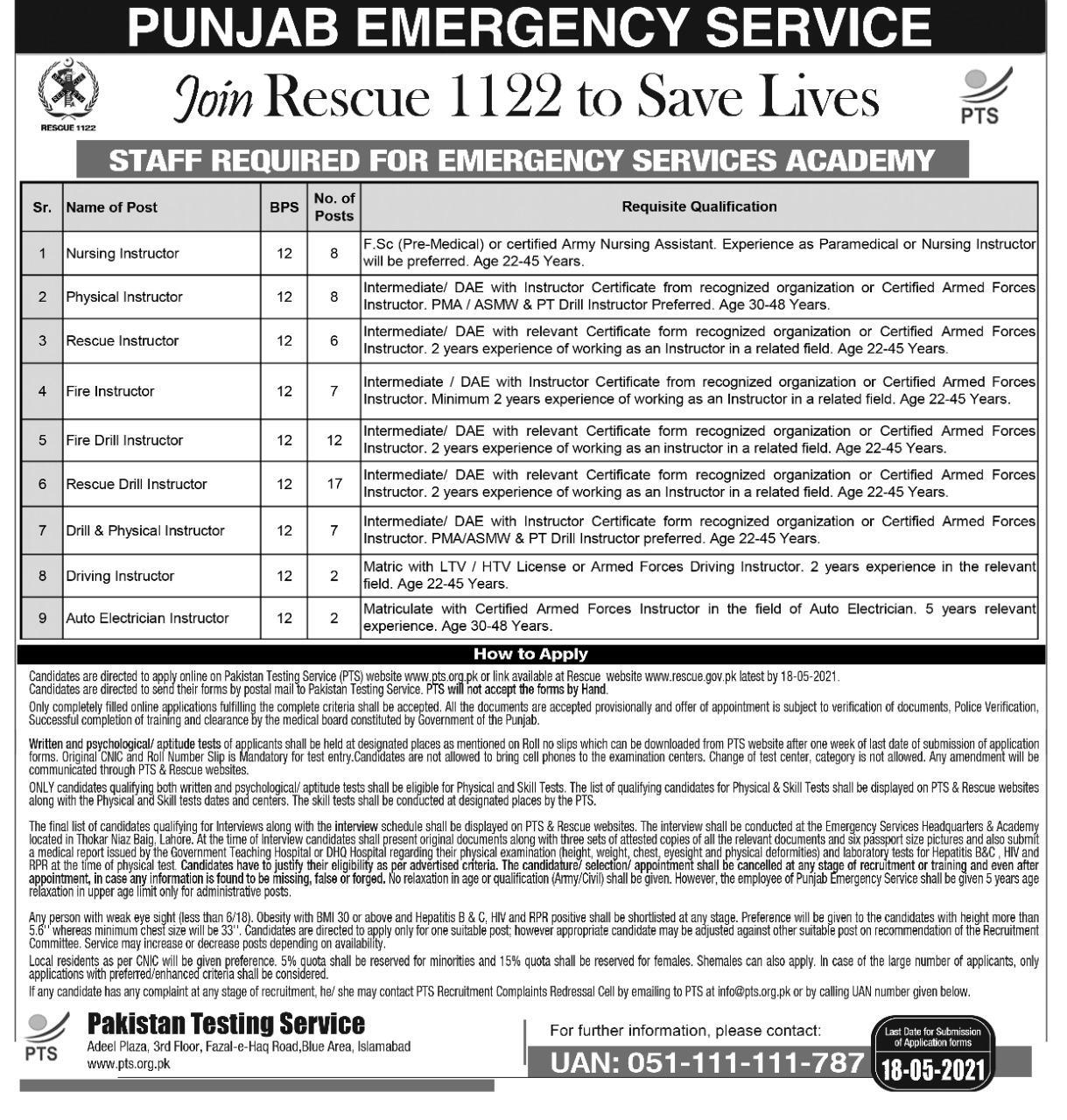 Punjab Rescue 1122 Jobs PTS Roll No Slips Download Online 2021