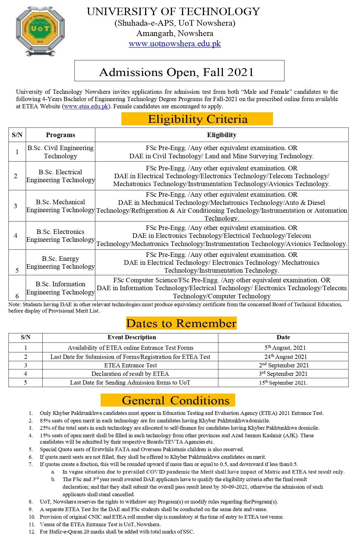 UOT Nowshera ETEA Entry Test Roll No Slips Download