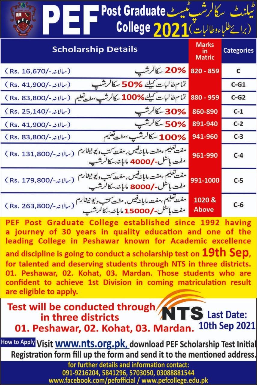 PEF Post Graduate College Peshawar NTS Scholarship Test 2021
